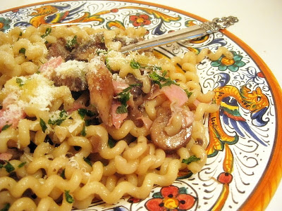 Fusilli With Portobello Mushrooms And Ham
