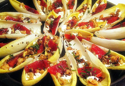 Endive Stuffed With Blood Oranges, Goat Cheese And Candied Walnuts