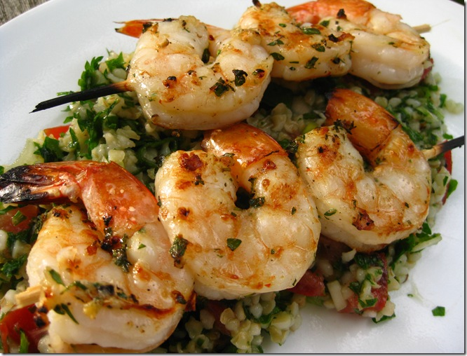 Grilled Shrimp And Bulgur Salad (Tabouleh)