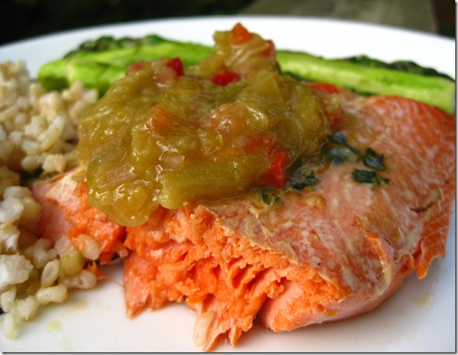 Grilled Salmon With Rhubarb Relish