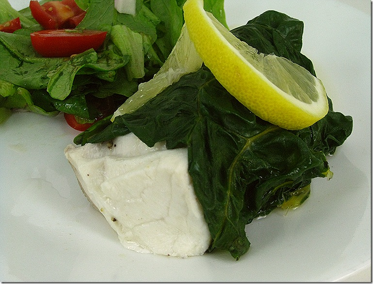 Steamed Halibut Wrapped In Swiss Chard Leaves
