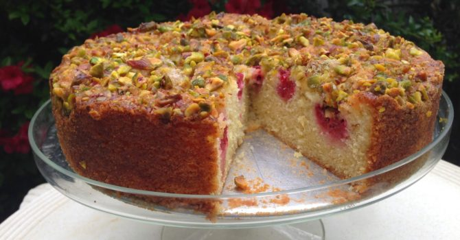 Lemon Olive Oil Cake With Raspberries And Pistachios