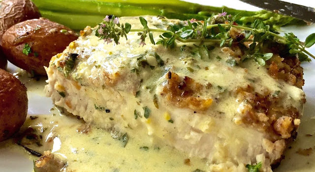 Grilled Swordfish In Lemon Caper Cream Sauce