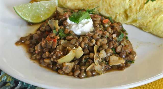 Lentils With White Wine, Herbs And Tomatoes