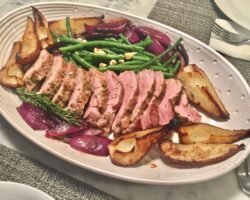 Pork Tenderloin With Roasted Pears And Red Onion
