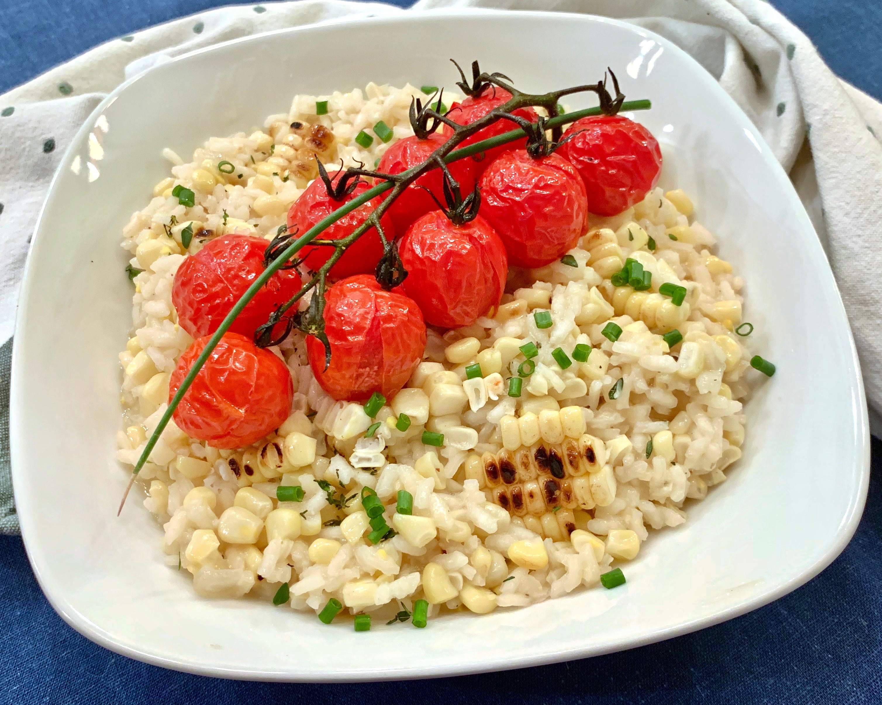 Corn Risotto With Roasted Cherry Tomatoes