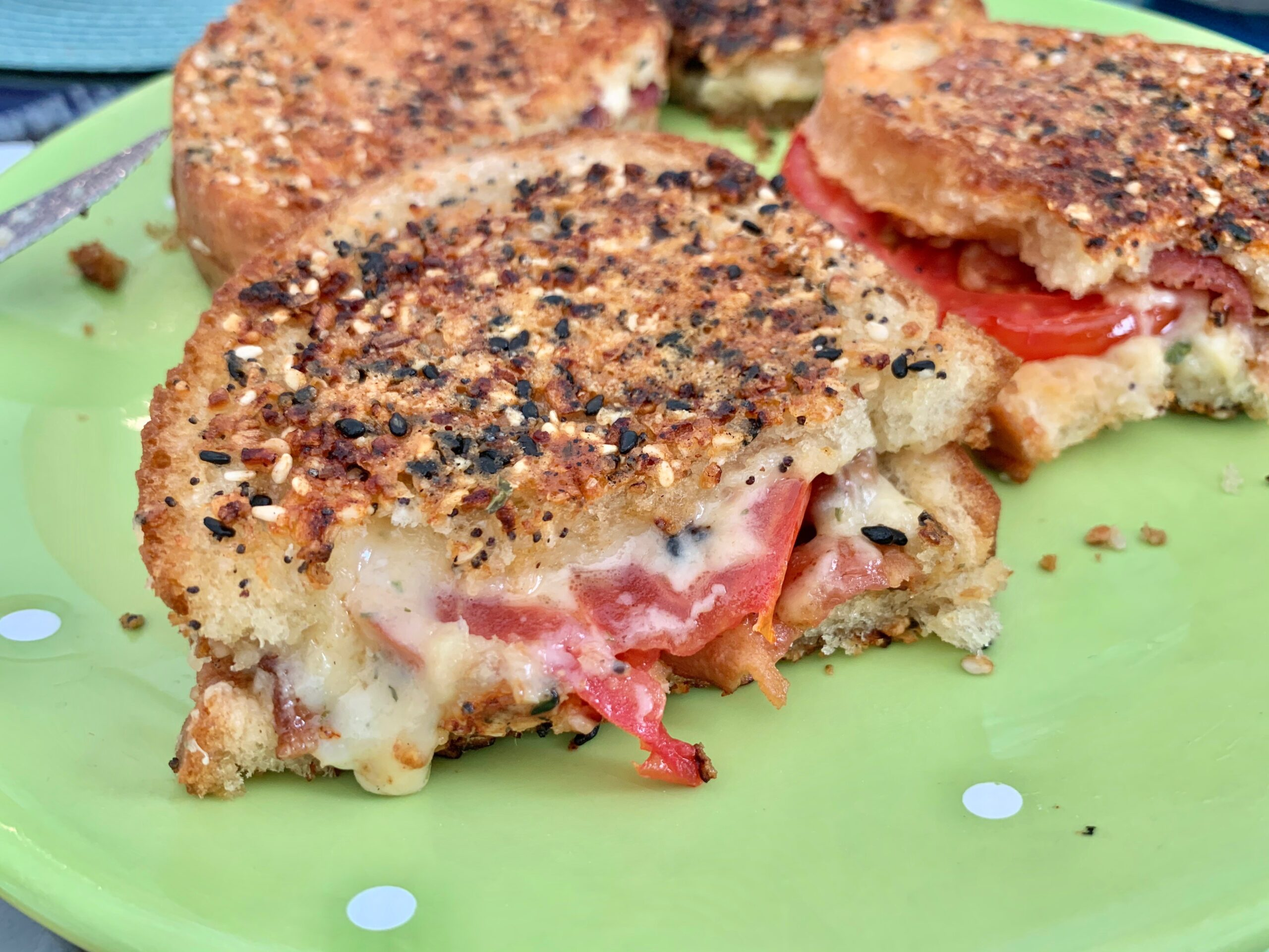 Everything Cheddar Tomato Bacon Grilled Cheese Sandwich