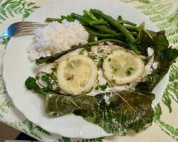Flounder Baked In Fig Leaves
