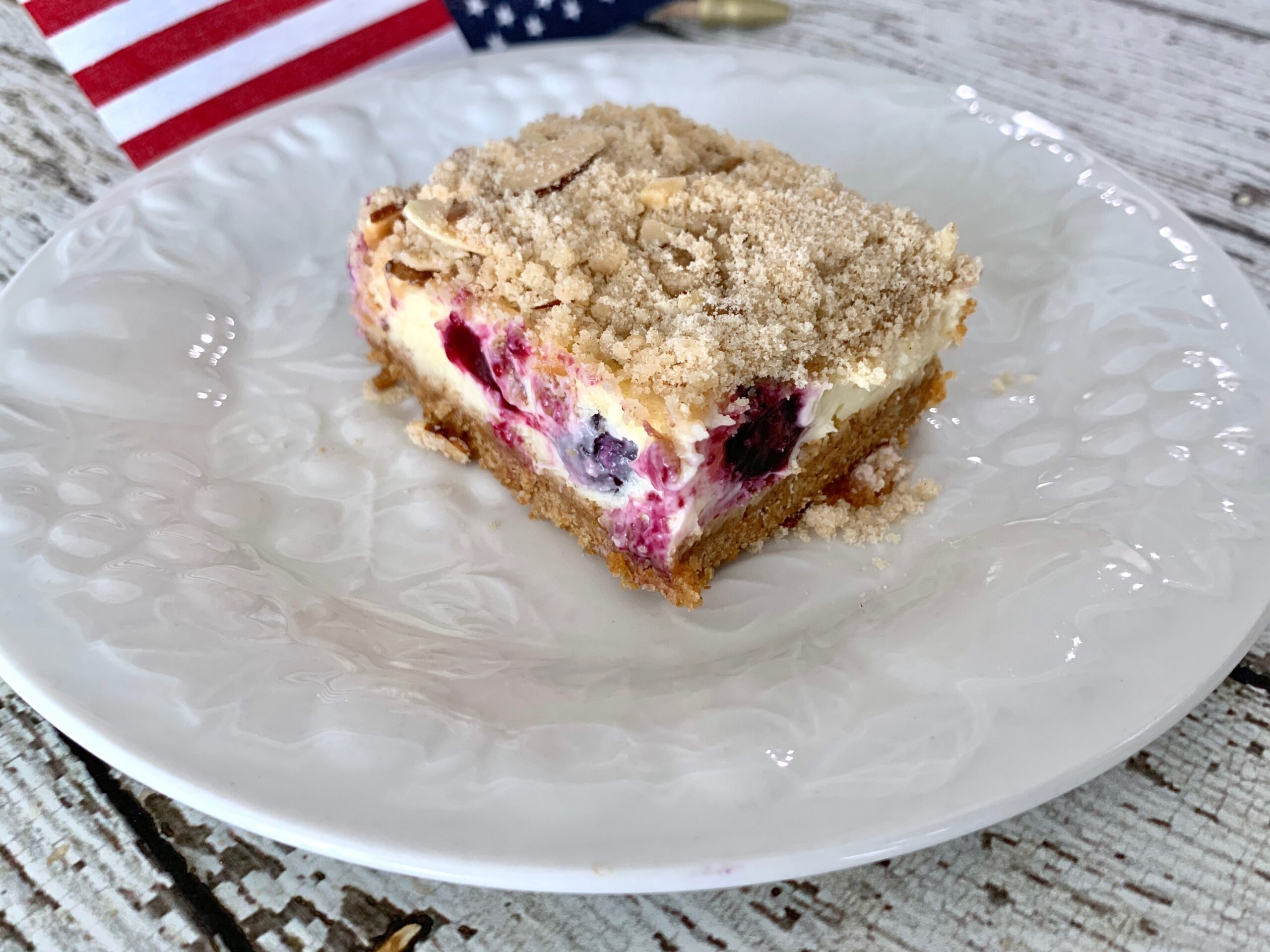 Blueberry Cheesecake Bars With Streusel Almond Topping