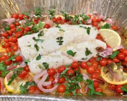 Grilled Codfish With Cherry Tomatoes